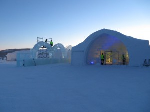 Ice hotel under construction