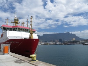 RRS Ernest Shackleton with Table Mountain behind