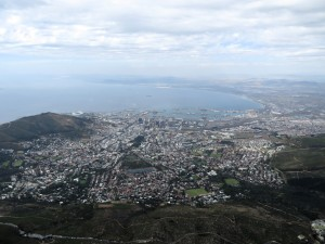 Cape Town from Table Mountain. Can you see the Shackleton?