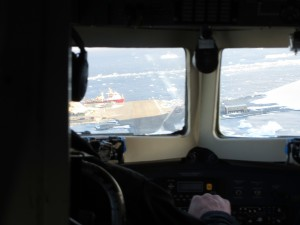 View from front of Basler on approach to Rothera.